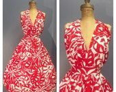 MIMI LE PAGE 1960's Vintage 1960s Red & White Crisp Cotton Hawaiian Print Halter Sundress Sun Dress - Plunging Back, Ties, Full Skirt M L