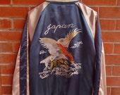 Vintage Japanese Traditional Hawk Eagles Sakura Japan Yokosuka BLUE Embroidery Satin Sukajan Souvenirs Bomber Jacket