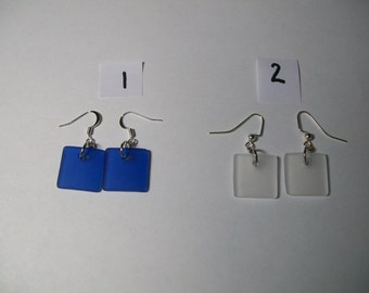 Square sea glass earrings, free shipping within US