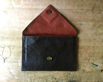 Brown Leather Clutch, Envelope Clutch, Envelope Bag, Snake Skin Clutch Bag, Clutch Design, David Mehler for Dame, 1960's, Minimalist Fashion