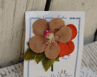 vintage leather flower pin. Vintage leather flowers