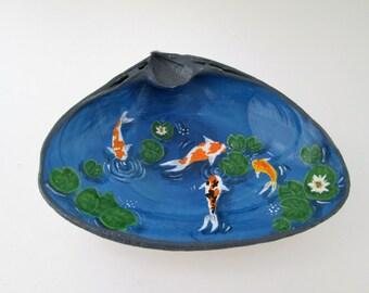 Koi fish pond shell hand painted sea shell fairy garden Zen decoration