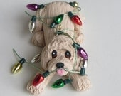 Labradoodle Dog Christmas Ornament Polymer Clay Goldendoodle