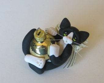 Black Tuxedo Cat Christmas Ornament Polymer Clay Art Sculpture Handcrafted