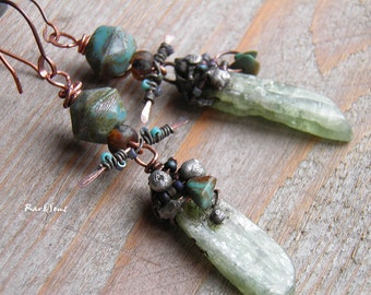 Tribal earrings-bohemian earrings-rough kyanite-rustic earrings-turquoise and Myiuki-pale green and blue-primitive vibe-organic mood-