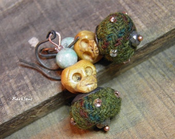 "Hipster earrings- vintage ""The tweed and the skull"" Stacking tweed bead-buffalo bone and fine stone"
