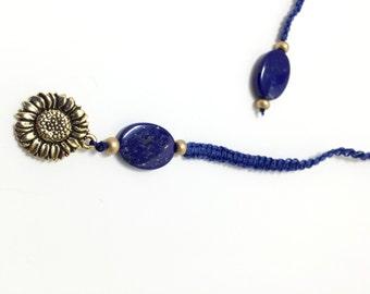 Lapis Lazuli and Sunflower Macrame Bookmark