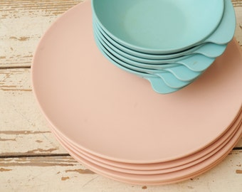 Mid Century Melamine Plates and Bowls MISMATCHED