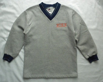 Vintage 90s Nike Grey V Neck Childrens Sweatshirt Boys Size Medium 10-12