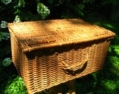huge wicker basket lidded handle french cottage rustic kitchen ottoman trunk stackable storage