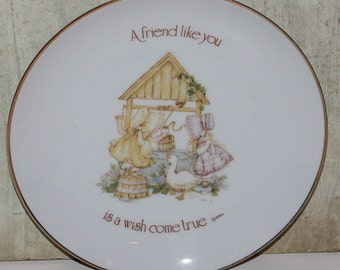 Vintage Lasting Memories Porcelain Plate - A Friend Like You is a Wish Come True - Holly Hobbie - Collectibles - Home Decor - Americana