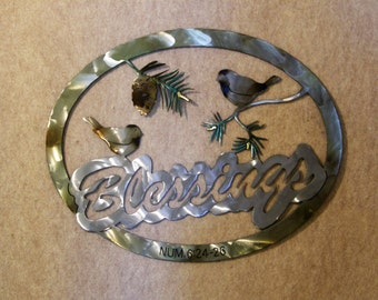 Blessings Metal Wall Sculpture Includes Chickadees and Pine Branches
