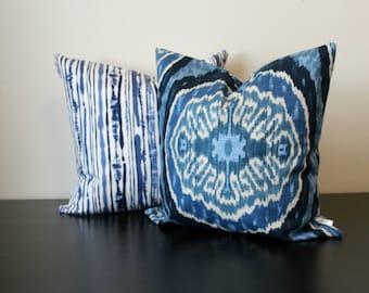 Decorative Throw Pillow Set, Ikat Pillow Covers, Duralee Blue Pillow Set,Set of Two, 20x20,18x18, Accent Pillow, Sofa Pillows, Toss Pillows
