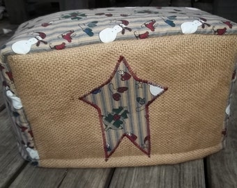 Burlap Christmas Country Primitive Toaster Cover Tan Rustic CHoose Size