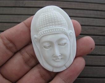 Intricate  Meditation Buddha , Buffalo bone carving , Jewelry making supplies B6304