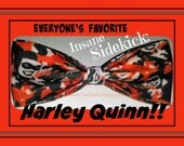 Harley Quinn, The Joker's Devoted Sidekick on a Crazy-Cool BowTie Made From Harley Quinn Fabric - Shipping NEVER M0RE THAN 1.49