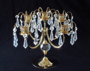 Gorgeous 24K Gold Plated Candelabra Candle Holder with 60 Sparkling Crystals