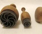 3 Traditional Uzbek Bread Stamps Daisy Little Mushroom Shaped Walnut