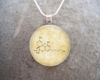 Marijuana Jewelry - THC Molecule - Tetrahydrcannabinol - Glass Pendant Necklace