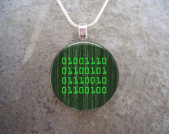 Nerd - Binary Jewelry - Glass Pendant Necklace