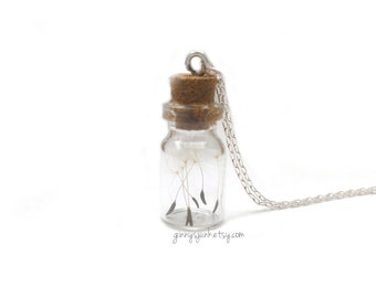 Make a Wish Dandelion Seed Necklace - Bottle Necklace - 16 Inch Necklace