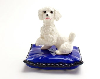 Vintage Poodle Salt and Pepper, Sarsaparilla Designs, Poodle on Pillow, White Dog Shakers, Blue and White Shakers,  Poodle Figurine, Epsteam