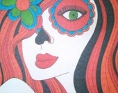 CIJSALE ACEO Sugar Skull Girl Print 2.5x3.5 Inches Day of the Dead Art Dia De Los Muertos Mexican Inspired Art Collector Collection Red and