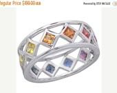 Valentines Day Sale Multicolor Rainbow Sapphire Bezel Set Eternity Ring 925 Sterling Silver : sku 973-925