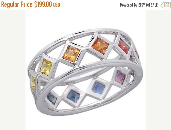 Valentines Day Sale Multicolor Rainbow Sapphire Bezel Set Eternity Ring 925 Sterling Silver : sku 973-925