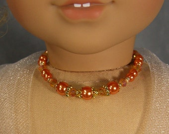 ORANGE & PEACH with Gold NECKLACE for American Girl Dolls in pearls and glass beads, Kanani, Lea, Caroline Easter, Spring, Grace