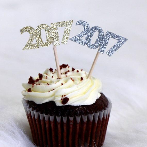 2017 Cupcake Toppers - Glitter - Graduation Party Decor. New Years Eve Decor. Happy New Year. Grad 2017. Graduation 2017. Senior 2017.