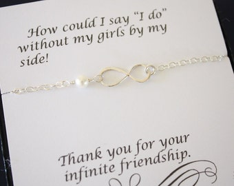 10 Silver Bridesmaid Infinity Bracelets, Infinity Eternity Jewelry, Bridesmaid Gift, Bridesmaid Thank You Card, White Pearl, Sterling Silver