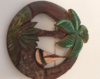 1930s/40s Vintage HAND Carved Wooden PALM TREE Pin Brooch with Sailboat Hand Colored
