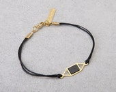 cute bracelet, geometric pendant on a waxed cotton thread. Black and gold or Grey and silver. Holiday gift