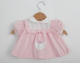 Vintage Newborn Baby Dress in Pastel Pink with Embroidered Bunny 0 to 6 months