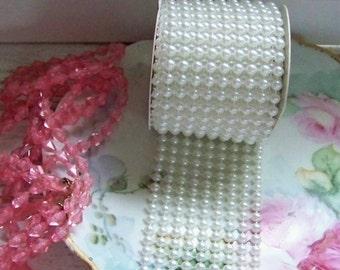Pearl Ribbon, Pearl Trim, Romantic Pearl Ribbons, Pearls, Faux Pearls, Wide Pearl Trim, Cream Pearl Trims, Shabby Style Ribbons, Chic Trims