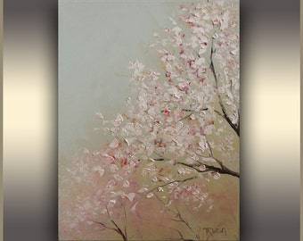 Cherry Blossom Oil painting Art Painting ORIGINAL art Mom wall Art Flowers painting Original Art Pink Blue Painting, Botanical