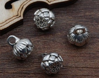 8 Little Lotus Pod Charms Mini Flower Seed Pods Varying Silver Tone Very Small Nature Renewal Charm Jewelry 8x9 mm (Note Size)