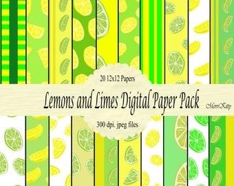 "65% OFF INSTANT DOWNLOAD - Digital Scrapbook Paper Pack - Lemons and Limes - No.5 - 20 12""x12"" Digital Papers"