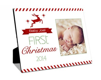 Personalized Baby's First Christmas Art Panel