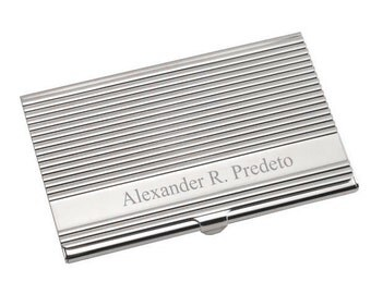 Engraved Contemporary Professional Silver Business Card Holder