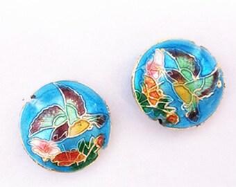 2pc 19x7.5 flat round handmade bird Cloisonne Beads-8568g