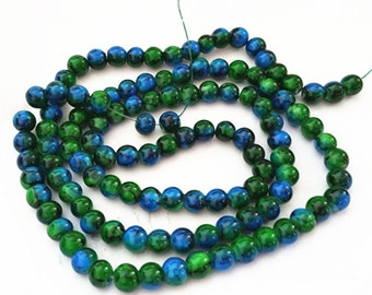 33 inch strand 8mm Drawbench Glass Beads(over 100 beads)-10330