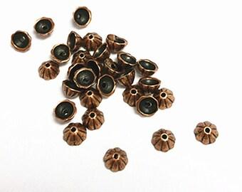 30pc antique copper finish 4mm metal bead cap-5788B