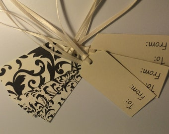 Gift Tags- Set of 6- Off White and Black Fleur de Lis