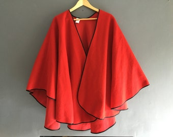 Red with black trim one size shawl / cape