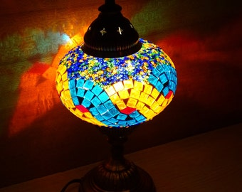 Authentic decorative handmade colourful glass mosaic bedside lamp, bedroom night lamp, table lamp,