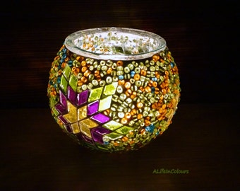 Handmade Turkish unique colourful glass mosaic candle holder, pencil holder.