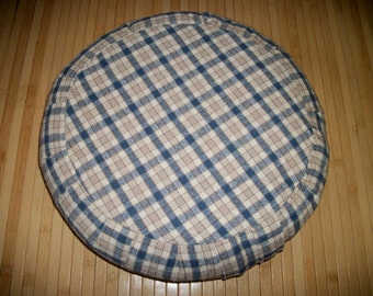 "Blue Plaid Zafu Meditation Cushion Zafu Floor Pillow. Blue Tan Beige Plaid Silk Fabric. 15x5. UNFILLED COVER. 6""L. Side Zipper. USA made"