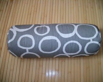 "Bolster Pillow. Neck Roll. Gray Geometric on White Pillowcase, and UNFILLED insert.  Zippered. 15"" x 5"".  Handmade USA"